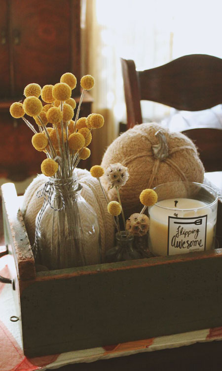 decorate for fall candle pumpkins box