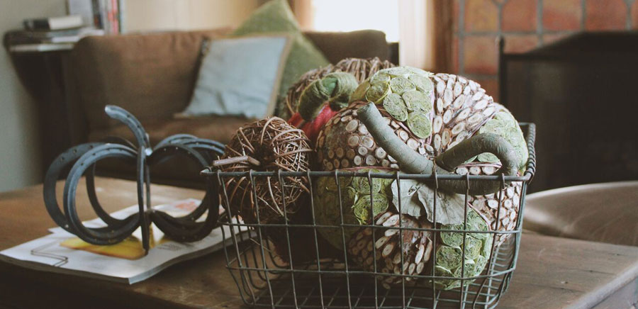 decorate for fall pumpkins basket